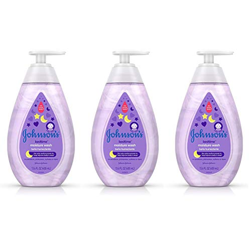 Johnson's Tear-Free Bedtime Baby Moisture Wash with Soothing NaturalCalm Aromas, 13.6 fl. Oz (Pack of 3)