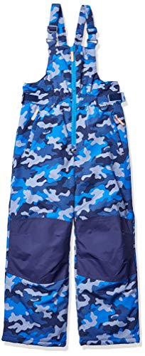 Amazon Essentials Kids Boys Water-Resistant Snow Bibs, Blue Camo, Large
