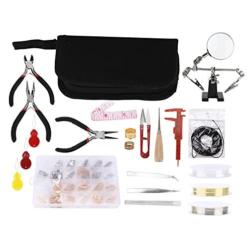 Juego de fabricación de joyas kit de herramientas de reparación y fabricación de abalorios de joyería alicates collar cadena juego de anillo abierto accesorios para manualidades con cuentas