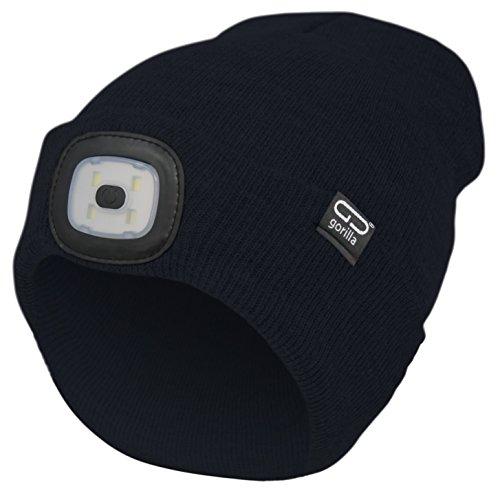 Mütze-Beanie Farbe schwarz, 2. Generation mit besserem Halt des LED Licht, USB-Rechargeable, OneSize, 3 Helligkeitsstufen, 1 Blinkmodus, waschbar, Lampe entnehmbar | Marken Qualität von Gorilla
