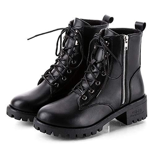 N / A Mujeres Botas De Cabeza Redonda de bajo Perfil Tobillo de Las Mujeres Botas, Zapatos Tamaño: 38 (Color : Negro)