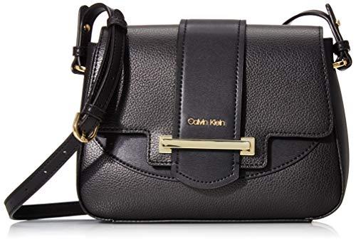 Calvin Klein Amara Hermine Flap Crossbody, Black/Gold