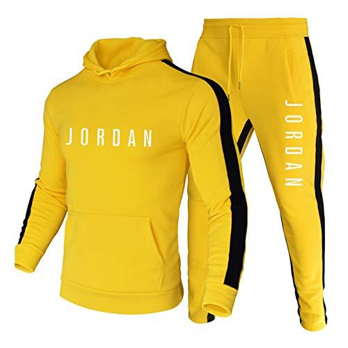 NBNB 2021 Jordan Sudadera con Capucha para Hombres, Entrenamiento de Hombres Deportes Casual Color Bloqueo de Color Sudadera, Sudadera Impresa Traje Deportivo Yellow~B-XXL