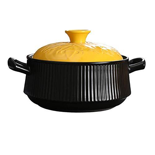 LIUSHI 4.23Quart Suppe Hot Pot Keramik Topf, gesundes Kochgeschirr Tontopf Ton Topf Topf mit gelbem Deckel Slow Cooker Schwarz Slow Cooker