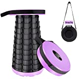 Juanya Retractable Folding Stools (with Storage Bag), Portable Plastic Steps Twelve Levels Adjustable Holds Up 330 Pounds, Outdoor Travel Camping Fishing Garden Folding Stools (Purple)