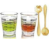 Shot Glasses Measuring cup Liquid Heavy Glass Wine Glass Espresso Shot Glass 26-Incremental Measurement 1oz, 6 Tsp, 2 Tbs, 30ml… (measuring cup 2 pcs)