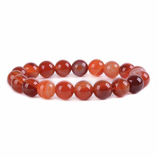Sardonyx Red Agate Gemstone 10mm Round Beads Stretch Bracelet 7 Inch Unisex