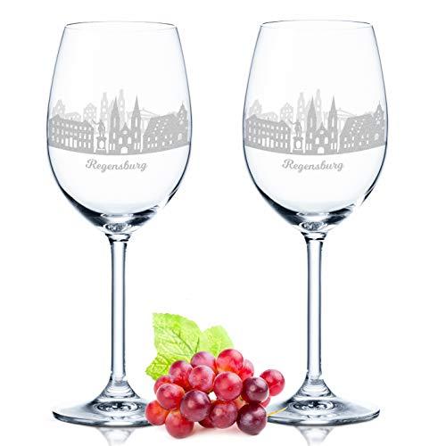 Leonardo Weinglas mit Gravur - Regensburg Geschenk im 2er Set - Weingeschenk - Souvenir Andenken und Mitbringsel - Geburtstagsgeschenk für Sie und Ihn