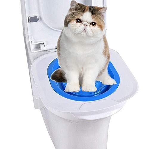 PJDDP Katzentoilette Training Kit, Cat WC-Sitz, Profi-Katze-Toiletten-Trainer, Haustier-Toiletten-Trainings Sitzschale, Kunststoff-Litter Box Mit Schritt Für Schritt, Ungiftiges Pet Supply, Blau