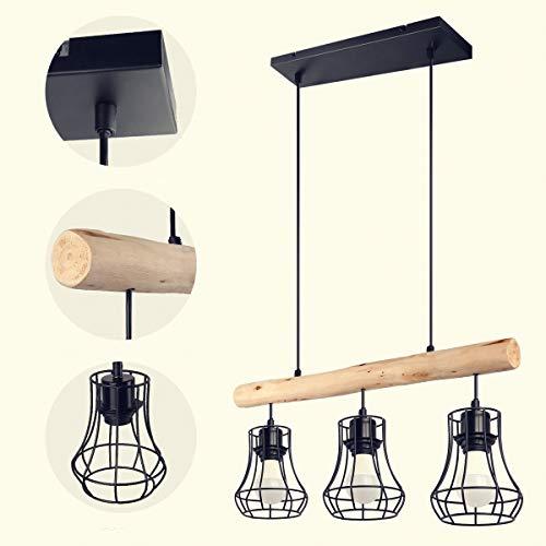 3-lampor bur pendellampa, retro metall/trä hängande lampor, design taklampa armatur träbalkar pendel punkt matsal retro gallerlampa 3-låga, uttag: E27