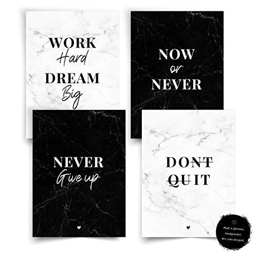 Donari® Motivation Poster Set Schwarz Weiß DIN A4 • Kunstdruck Bild Schlafzimmer • Motivationsposter • Motivationsbilder • Wandbild Wohnzimmer