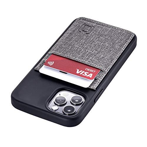 Funda Tipo Cartera Dockem para iPhone 12 Pro y 12 Pro: Placa de Metal Oculta para Montaje Magnético con Cuero Sintético Estilo Lienzo, 2 Ranuras para Tarjetas (Negro y Gris Luxe M2T, 6.1')
