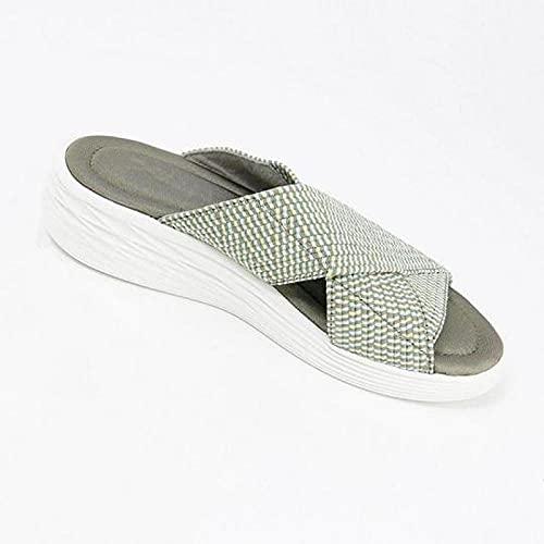 Sandalias ligeras de confort en el talón,Zapatillas casuales de gran tamaño para el hogar,zapatillas de color sólido con tacón de pendiente hueca-verde_43 EU,Zapatillas de baño planas de verano