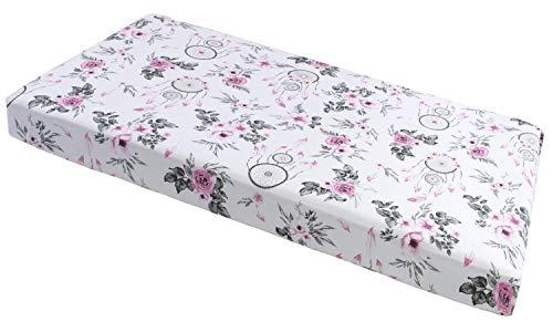 Sábana bajera ajustable de 60 x 120 cm, 100% algodón, ropa de cama para bebé, colchón de bebé, saco de dormir para cuna (atrapasueños con flores rosas)