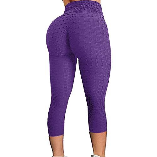 Damen Yoga Leggins Blickdicht Frauen High Waist Fitnesshose Yogahosen Sportleggins Slim Fit Hohe Taille Sportshort Lange Leggings mit Bauchkontrolle
