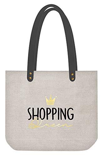 ART GRAFIK - Bolso de mujer'Shopping Queen' | Piel sintética de lino | gris y oro | 47,5 x 39 cm | 62045