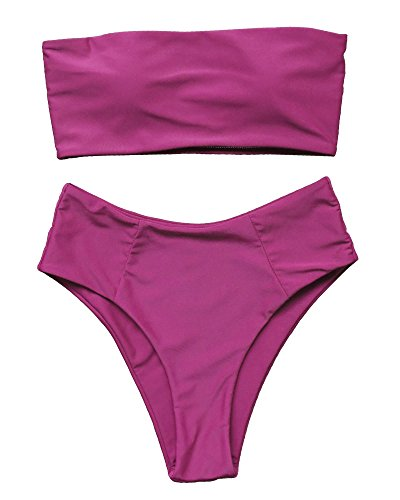 OMKAGI Women's 2 Pieces Bandeau Bikini Swimsuits Off Shoulder High Waist Bathing Suit High Cut(XL,Wine Red)