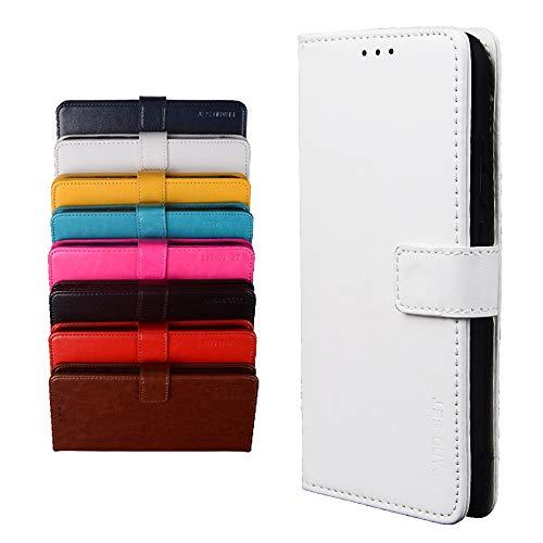 BRAND SET Schutzhülle für Umidigi A9/A7 Pro Handyhülle Brieftasche Kunstleder mit Magnetverschlussverriegelung & Stent-Funktion Geeignet Flip Handyhülle für Umidigi A9/A7 Pro(Weiß)