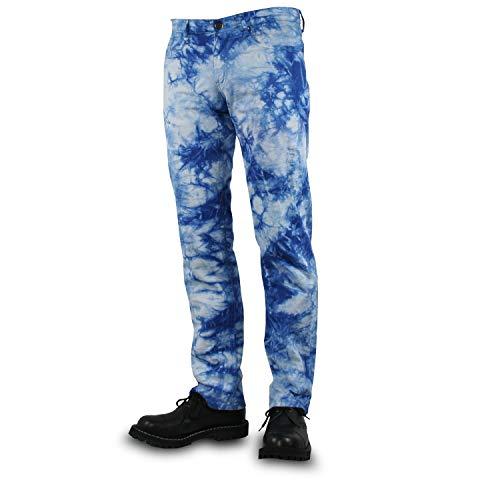 No Brands Required - Bleach, Männerhose, Schnitt: Straight-Fit, Farbe: Blau/Weiß, Größe: 36