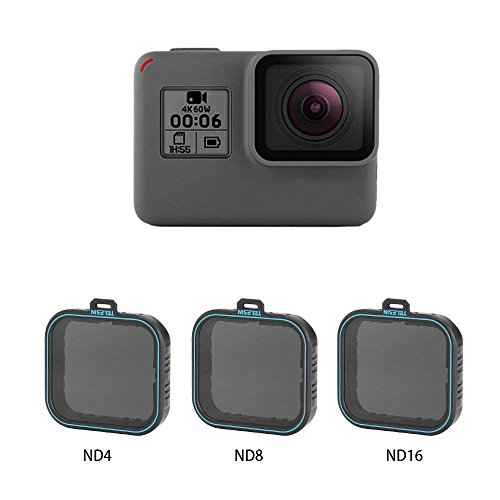 AuyKoo 3 Pack Nd Objektiv Protector Kit Set (ND4 ND8 ND16) Neutral Graufilter für GoPro Hero7 Black Hero 5 Hero 6 Schwarz AK018
