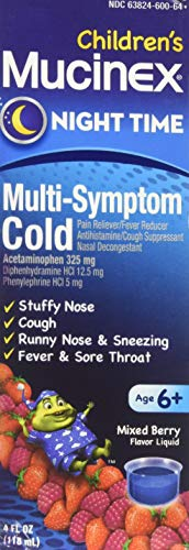 Cold, Cough, and Fever, Mucinex Children's Multi-Symptom, Night Time Cold Liquid, Mixed Berry, 4oz, Reduces Fever, Controls Cough, Relieves Stuffy Nose