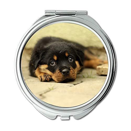 Yanteng Spiegel, Reise-Spiegel, Rottweiler Hündchen-Hintergrund Thoroughbred, Taschenspiegel, tragbarer Spiegel