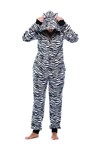 6453-10218-S Just Love Adult Onesie with Animal Prints / Pajamas, White Tiger, Small
