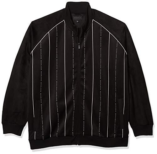 Sean John Men's Long Sleeve Zip Up Linear SJ Track Jacket, Jet Black, 5X-Large - Big
