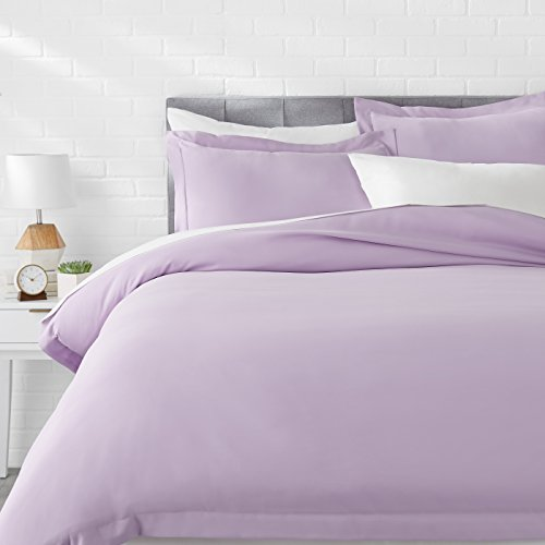Amazon Basics Light-Weight Microfiber Duvet Cover Set with Snap Buttons - King, Frosted Lavender