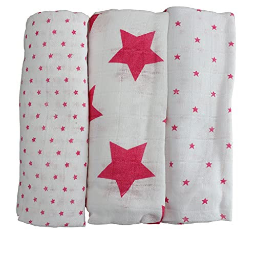 Babymajawelt®'Lebkuchen Stars' 80x80 cm 3er Pack (Mulltücher Spucktücher Baumwollwindeln Stoffwindeln Sterne) (rosa)
