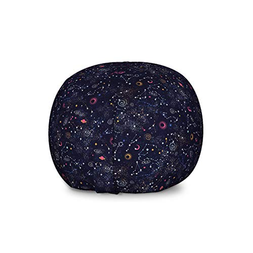 Lunarable Constellation Storage Toy Bag Chair, Star Clusters Galaxies and Planets Astrology Themed Abstract Illustration, Stuffed Animal Organizer Washable Bag for Kids, Large Size, Multicolor