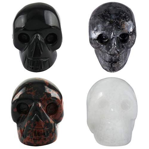 Rockcloud Healing Crystal Stone Human Reiki Skull Figurine Statue Sculptures Mixed Stone(Pack of 4) 1'