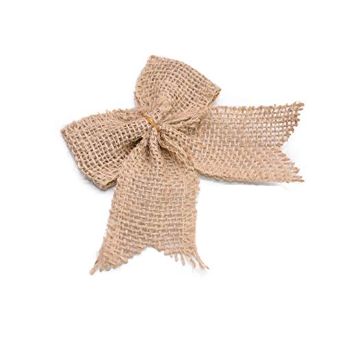 DUO ER 10pcs Weihnachten Reihe DIY Verpackung Weinlese Natürliche Jute Sackleinen hessischen Bögen Band-Hochzeit Dekoration Mariage Geschenkkarton Wrapping Bowknot (Farbe : 1)