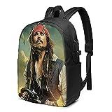 Sac à dos Pirates Caraïbes USB 43,2 cm Grand sac à dos pour ordinateur portable Homme Femme Adolescent Charge USB Port casque High School Voyage