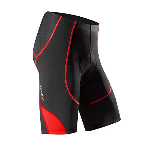 Santic Pantalon Ciclismo Hombre Corto Pantalones Bicicleta Hombre Montaña/MTB Acolchado con Badana/Almohadilla Rojo EU M