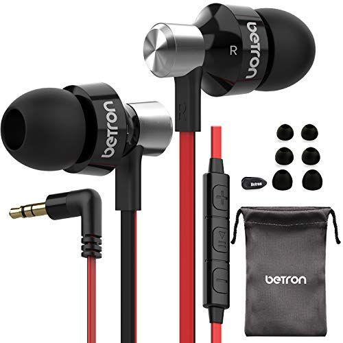 Betron DC950HI Headphones Earphones, Noise Isolating, Tangle Free Cable, Bass Driven Sound for iPhone, iPod, iPad and Samsung (Black with Remote and Microphone)