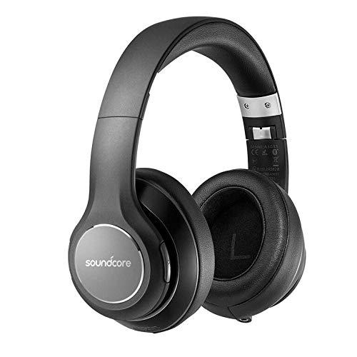 Anker Soundcore Vortex Cuffie Over-Ear Senza Fili con Autonomia di 20 Ore di Riproduzione, Bluetooth 4.1, Suono Stereo Hi-Fi, Cuffie Soffici con Memory-Foam, Microfono incorporato e Modalità con filo.
