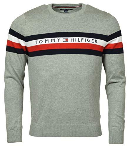 Tommy Hilfiger Mens Pullover Logo Sweater (Medium, Gray)