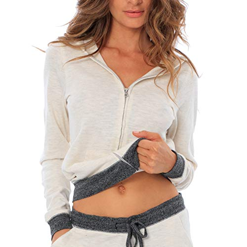 VBRANDED Women's French Terry Zip-Up Fitted Hoodie Sweater Large Oatmeal