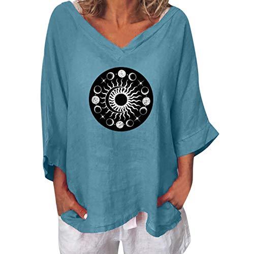 Camiseta de verano para mujer, manga 3/4, grande, elegante, tallas grandes, holgada, para verano, concisa y grfica, tnica para mujer, cuello en V, Azul A., M