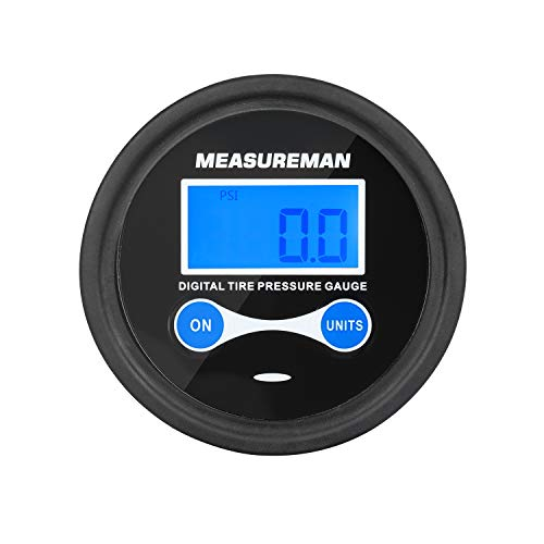 Measureman 2quot Dial Size Digital Air Pressure Gauge with 1/8#039#039 NPT Center Back Connection and Protective Boot 060psi 01Psi Resolution Accuracy 1% Battery Powered