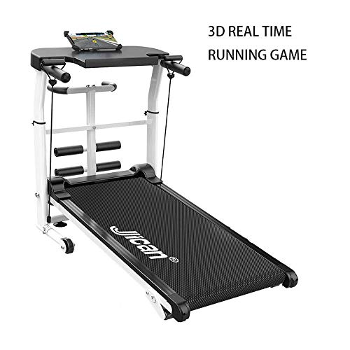 Mechanical Treadmill 5-in-1, with APP Monitoring, Mechanical Treadmill, Sit-ups Pannel, T-Twisting Machine, Waist Training Tray, Draw Rope Mechanical and Massage Wheel with Tablet Stand Treadmills