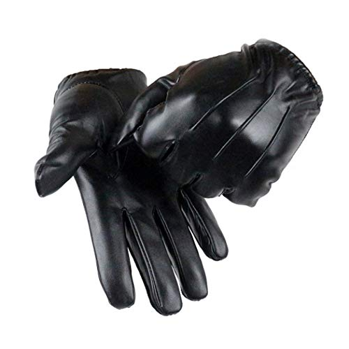 Long Keeper Mens Leather Gloves - Touch Screen Winter Gloves with...