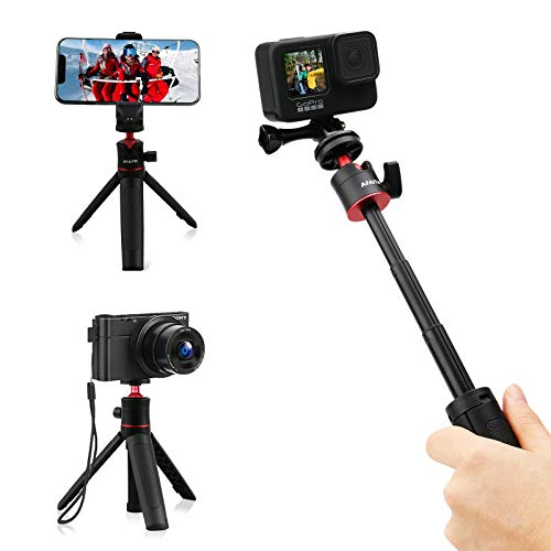 """AFAITH 6"""" Mini Extendable Selfie Stick for GoPro, Portable Lightweight Tabletop Selife Stick Tripod Stand for GoPro Hero 9/8/7/6/5 Black/GoPro Max DJI Osmo Action Insta 360 Action Camera"""