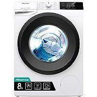 hisense wfge8012 lavatrice freestanding a carica frontale, capacità 8 kg, 2000 w, 1200 giri, bianco, 60 x 54.5 x 85 cm