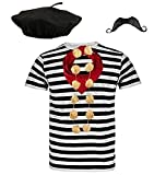 Blue Planet COMPLETE Mens French Man Costume Striped T Shirt, Beret, Scarf, Garlic Garland & Moustache (Small 36-38' Chest)