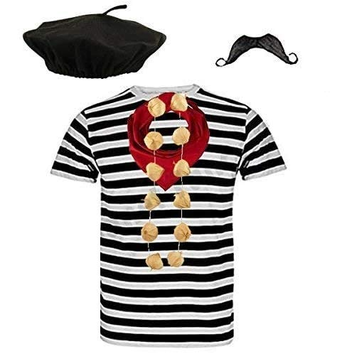 Blue Planet COMPLETE Mens French Man Costume Striped T Shirt, Beret, Scarf, Garlic Garland & Moustache ((X Large 46-48' Chest))