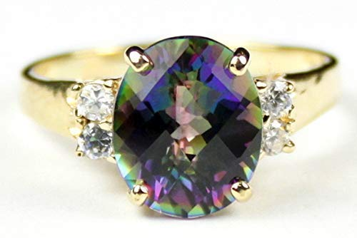 MYSTIC FIRE TOPAZ 10k yellow Beauty products gold ladies 4 ring accent CZ with Free shipping New s