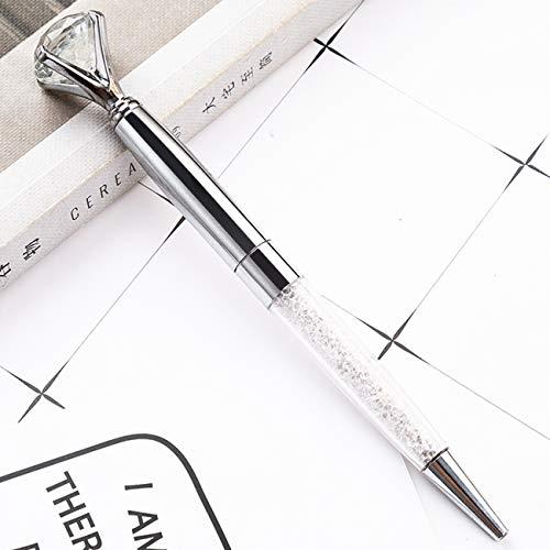 edler Kristall Kugelschreiber mit Diamant/schwarze Schrift/in schöner Box (Silber)