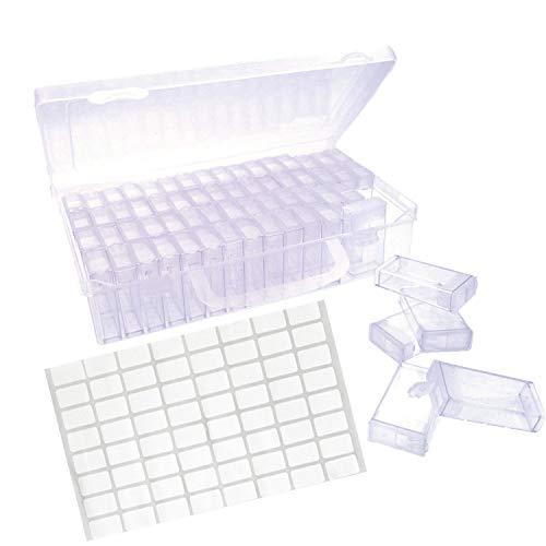 JZK Kunststoff 64 Fächer Diamant Stickerei Sortierbox Schmuck Organizer Diamond Painting Box für Schmuck DIY Handwerk Nägel, Strass, Perlen